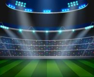 Football arena field with bright stadium lights design. royalty free illustration
