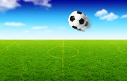 Illustration of football ball in motion. Illustration of football ball that flies over green field vector illustration