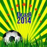Illustration football card in Brazil flag colors. Soccer ball Stock Photos