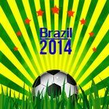 Illustration football card in Brazil flag colors. Soccer ball Stock Images