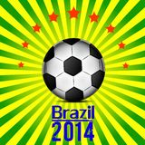 Illustration football card in Brazil flag colors. Soccer ball Royalty Free Stock Image