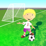 Illustration of football field and football player Stock Image