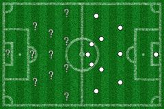 Illustration of a football field with lines and tactics from above. An illustration of a football field with lines and tactics from above Stock Photography