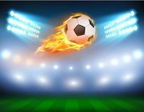 Illustration of a football in a fiery flame. Illustration of a football, soccer ball in a fiery flame on a field with the searchlights turned on in a realistic Stock Photos