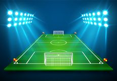 An illustration of Football soccer field with bright stadium lights shining on it. Vector EPS 10. Room for copy.  Royalty Free Stock Image