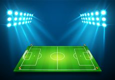 An illustration of Football soccer field with bright stadium lights shining on it. Vector EPS 10. Room for copy.  Stock Photography
