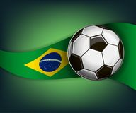 Illustration with football or soccer ball and flag of Brazil stock illustration