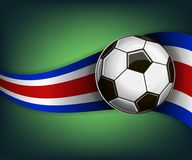Illustration with football or soccet ball and flag of Costa Rica. Illustration with foootbal or soccet ball and flag of Costa Rica. Vector for international Royalty Free Stock Images
