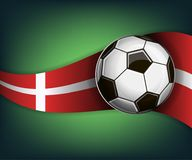 Illustration with football or soccet ball and flag of Denmark. Illustration with foootbal or soccet ball and flag of Denmark. Vector for international world Royalty Free Stock Images
