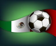 Illustration with football or soccet ball and flag of Mexico. Illustration with foootbal or soccet ball and flag of Mexico. Vector for international world Royalty Free Stock Photo