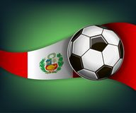 Illustration with football or soccet ball and flag of Peru. Illustration with foootbal or soccet ball and flag of Peru. Vector for international world Royalty Free Stock Photography
