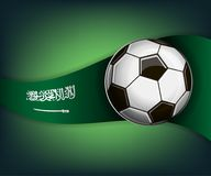 Illustration with football or soccet ball and flag of Saudi Arabia. Illustration with foootbal or soccet ball and flag of Saudi Arabia. Vector for international Stock Image