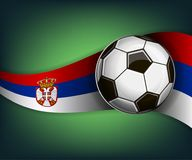 Illustration with football or soccet ball and flag of Serbia. Illustration with foootbal or soccet ball and flag of Serbia. Vector for international world Stock Photography