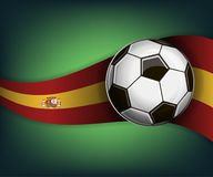 Illustration with football or soccet ball and flag of Spain. Illustration with foootbal or soccet ball and flag of Spain. Vector for international world Stock Photo