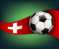 Illustration with football or soccet ball and flag of Switzerland. Illustration with foootbal or soccet ball and flag of Switzerland. Vector for international Royalty Free Stock Photos