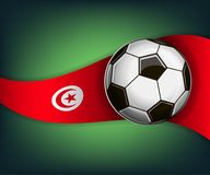 Illustration with football or soccet ball and flag of Tunisia. Illustration with foootbal or soccet ball and flag of Tunisia. Vector for international world Stock Photos