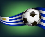 Illustration with football or soccet ball and flag of Uruguay. Illustration with foootbal or soccet ball and flag of Uruguay. Vector for international world Royalty Free Stock Photography