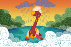 Free Illustration For Children: The Loch Ness Monster Provides The Yellow Duck A Safe Haven When It Rains. Stock Photo - 66822090