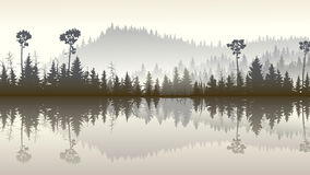 Illustration of forest hills with its reflection in lake. Horizontal illustration morning misty coniferous forest hills with its reflection in lake Stock Photos