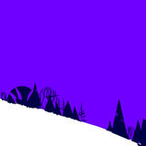 Illustration with forest in mountains on hill. Simple stylized illustration with forest in mountains Stock Photo