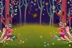 Illustration: Forest Night with Glow Firefly Light in the Dark. Realistic Fantastic Cartoon Style Artwork Scene, Wallpaper, Story Background, Card Design Royalty Free Stock Images