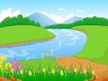 Illustration of a forest with a river and flower Royalty Free Stock Image