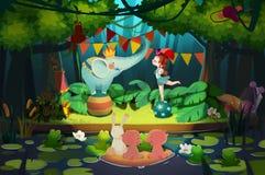 Illustration: Forest Show Begins! Rollen Sie oben, rollen Sie oben Stockfotografie