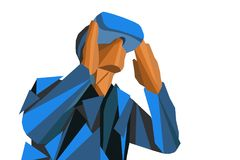 Illustration in Form eines Mosaikmannes in den Gläsern virtueller Realität Das Konzept von neuen Technologien stock abbildung