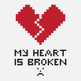 An illustration in the form of a pixelated broken heart Royalty Free Stock Photography