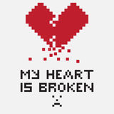 Illustration in the form of a pixelated broken heart Stock Image