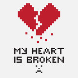 Illustration in the form of a pixelated broken heart Royalty Free Stock Images
