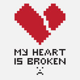 An illustration in the form of a pixelated broken heart. Whose diagonal fissure goes from left to right. The image is accompanied by the inscription My heart is Stock Images