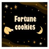 Illustration with fortune cookie with stars and moon on the black background. stock images