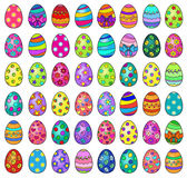 Illustration of forty eight easter eggs on a white background. Stock Photo