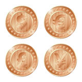 illustration of four bronze coins with dollar, euro, poun. D and yen signs. EPS Stock Photos