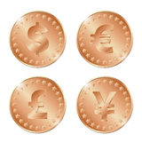 illustration of four bronze coins with dollar, euro, poun. D and yen signs. EPS Royalty Free Stock Image