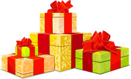 Illustration of four colorful gift box Stock Image