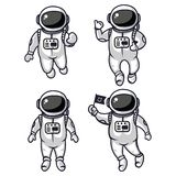 Illustration of four cute astronauts royalty free illustration
