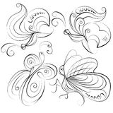 Illustration four different butterflies without a fill color on white background Royalty Free Stock Photos