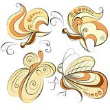 Illustration four different butterflies on a white background Royalty Free Stock Images