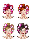 Illustration of four girls with hair rolls - Raster Illustration Stock Photo