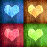 Illustration with four hearts with diferent colors Stock Photo
