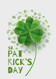 Illustration with four-leaf clover on St. Patrick's Day. Vector illustration with 3D-effect. There is room for text Stock Photography