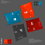 Illustration with four paper folded paper sheets on dark Royalty Free Stock Photography