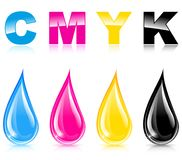 Four print colors. Illustration of four print colors liquid drop stock illustration
