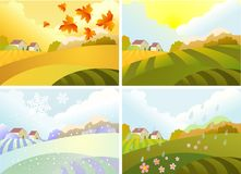Illustration of four season: winter, spring, summer, autumn Stock Images