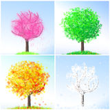Illustration of four seasons tree Stock Photos