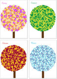 Illustration of four seasons tree isolated on whit Stock Photo