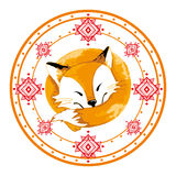 Illustration of fox in circle Royalty Free Stock Photography