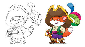 Coloring, fox in costume pirate. Card concept. Royalty Free Stock Photo